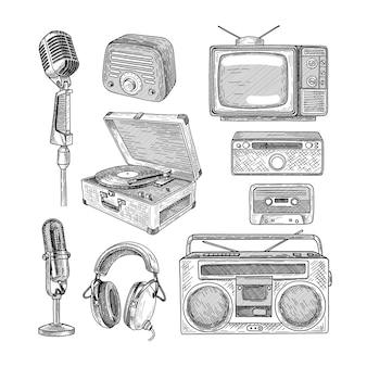 Retro media engraved illustrations set