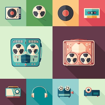 Retro media flat square icons with long shadows set.