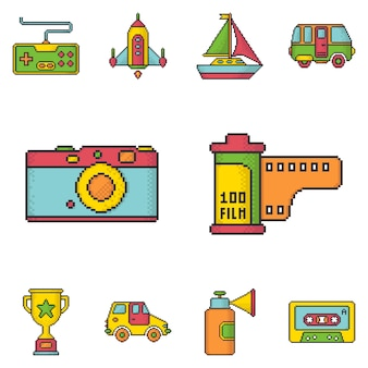 Retro media and games pixel art style vector icons set.