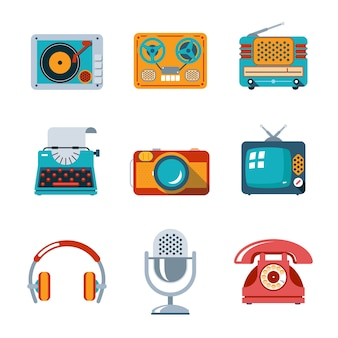 Retro media icons in flat style. tv and microphone, headphones and typewriter and radio
