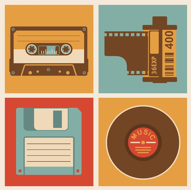 Retro media objects. design elements set.