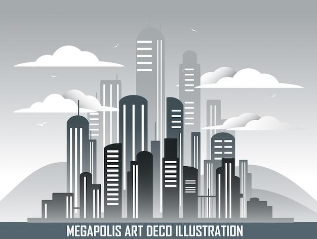 Retro megalopolis in art deco style.
