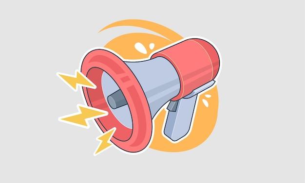 Retro megaphone in cartoon style