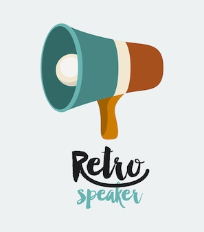 Retro megaphone  poster isolated icon design
