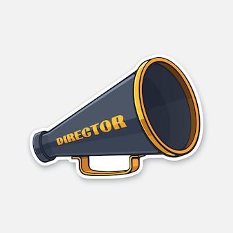 Ретро мегафон с директором слова на стороне винтаж ручной громкоговоритель векторная иллюстрация
