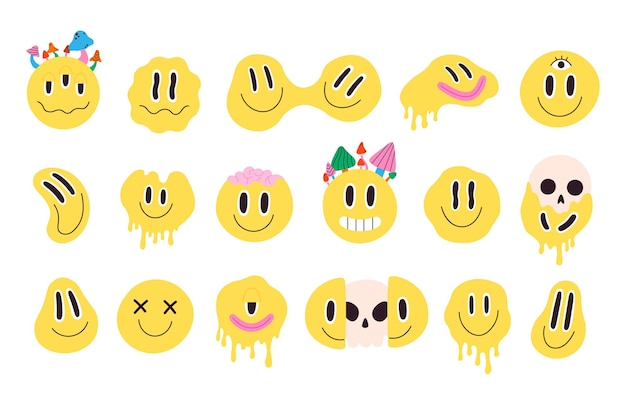 Retro melting crazy and dripping smiley face with mushrooms. distorted graffiti emoji with skull. hippie groovy smile character vector set