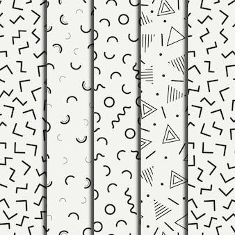 Retro memphis geometric line shapes seamless patterns set.