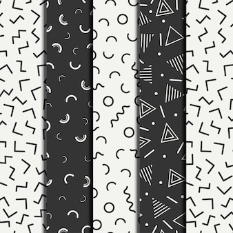 Retro memphis geometric line shapes seamless patterns set