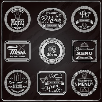 Retro menu labels chalkboard