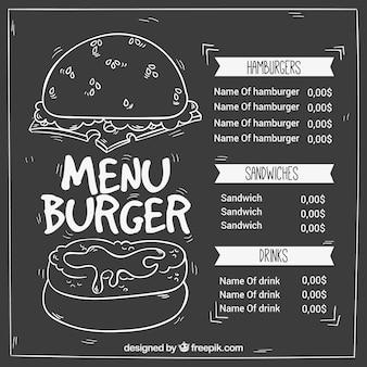 ハンバーガー、レトロ、黒板、メニュー