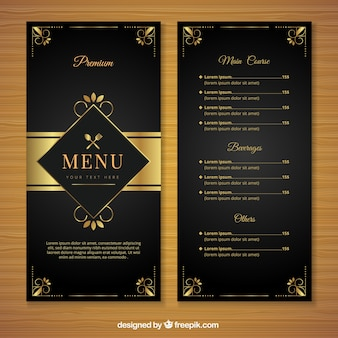 Retro menu template with golden ornaments