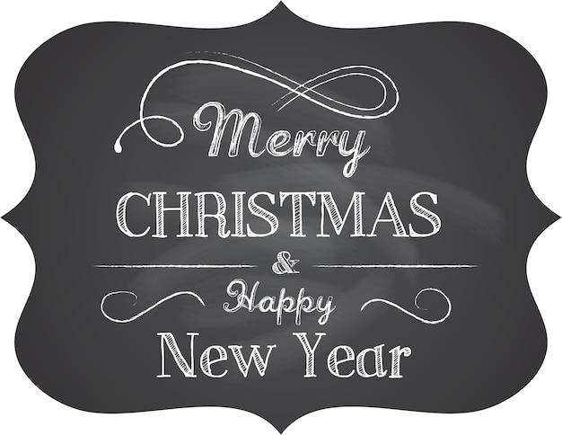 칠판 배경으로 레트로 메리 크리스마스와 새 해 복 많이 받으세요 배너. 인사말 카드 또는 포스터 템플릿