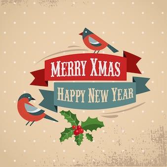 ロビンとヤドリギとレトロなメリークリスマスと新年あけましておめでとうございますグリーティングカードテンプレート。