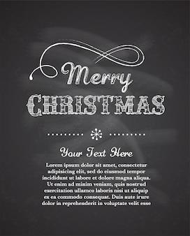 칠판 배경으로 레트로 메리 크리스마스 인사말 카드입니다. 배너 또는 포스터 템플릿 프리미엄 벡터