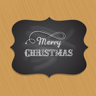 Retro merry christmas greeting card with wood texture background.  template for banner or poster