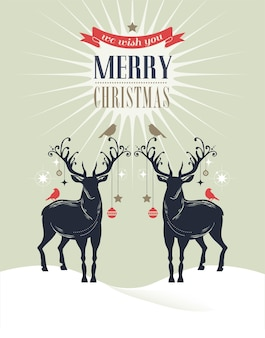 Retro merry christmas and happy new year card with two deers.