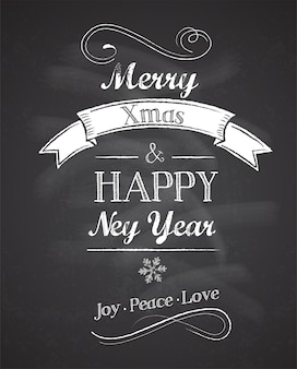 Retro merry christmas and happy new year greeting card with chalkboard background.