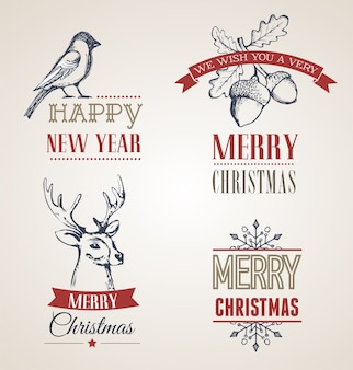 Retro merry christmas and happy new year labels
