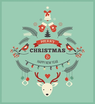 Retro merry christmas and happy new year template with multiple icons and holiday symbols.