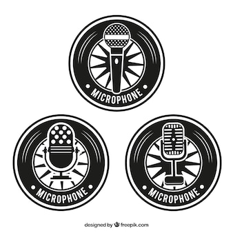 Retro microphone badges