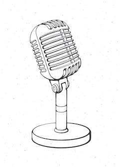 소리에 대한 레트로 마이크는 라디오 녹음 개요 벡터 일러스트 레이 션을 말한다