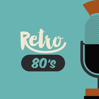 Retro microphone poster isolated icon design