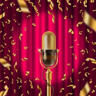 Retro microphone on stage in spotlight against the background of red curtain and golden confetti. illustration