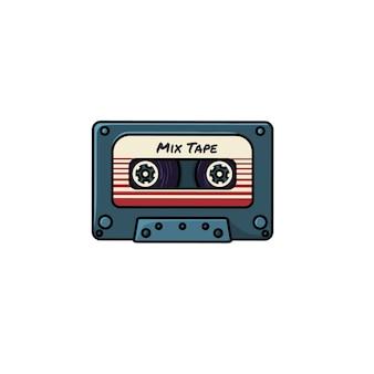 Retro mix tape flat vector icon
