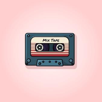 Retro mix tape flat vector illustration
