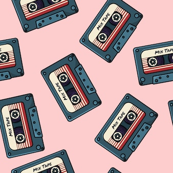 Retro mix tape seamless pattern