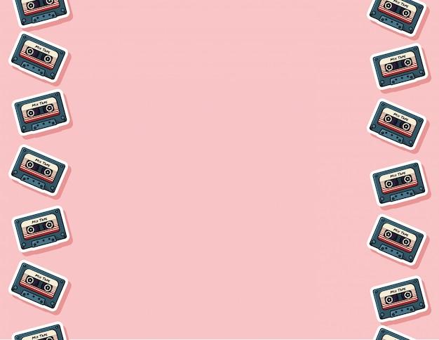 Retro mix tape seamless pattern