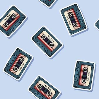 Retro mix tape stickers seamless pattern.
