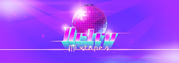 Retro mixtape dance banner with disco ball