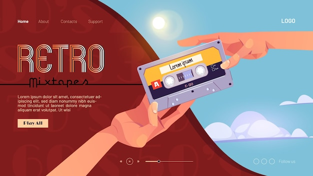 Retro mixtapes cartoon landing page with human hands giving audio cassettes to each other Free Vector