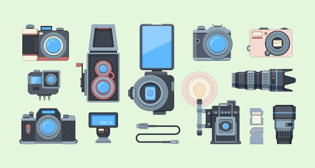 Retro and modern cameras flat illustrations set. collection of different photography equipment.