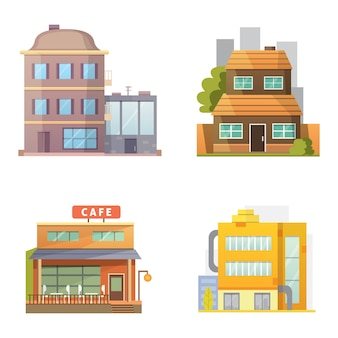 Of retro and modern city houses. old buildings, skyscrapers. colorful cottage building, cafe house.