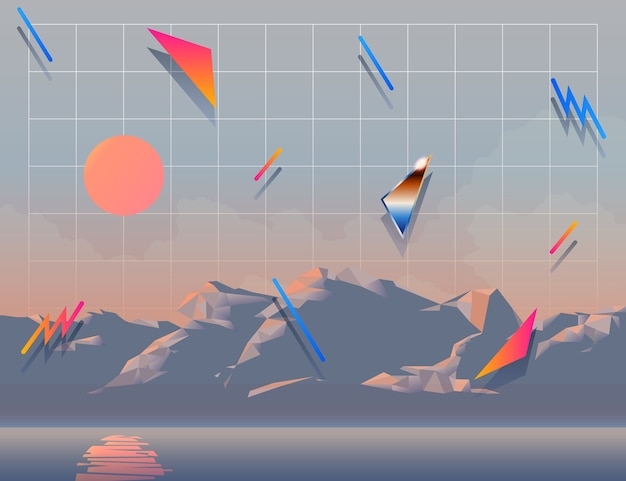 Ретро современный пейзаж фон с 1980 элементов