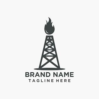 Ретро современный логотип нефти с огнем