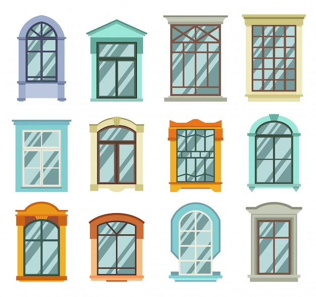 Retro and modern wooden window frames