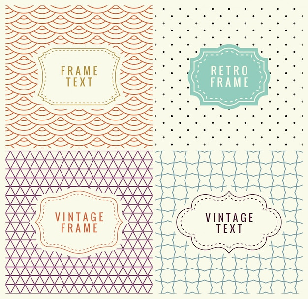Retro mono line frames with place for text. vector design template