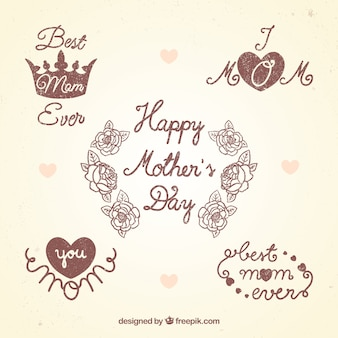 Retro mothers day badges