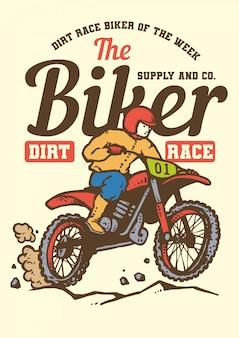 Retro motocross biker race in vintage style