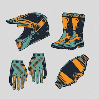 Retro motocross elements