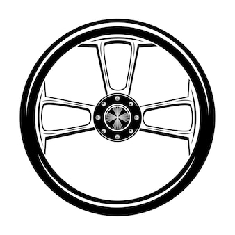 Retro motor bike wheel vector illustration. vintage motorcycle part