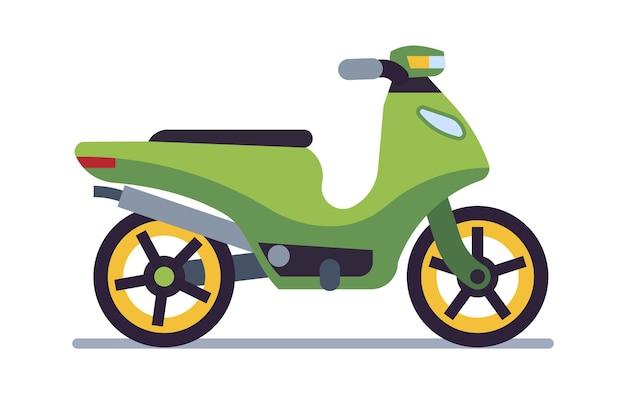 레트로 오토바이. 배달 오래된 녹색 스쿠터, 도로 경주를 위한 수집 가능한 클래식 차량, 속도 경주 빈티지 스타일 오토바이 여행 및 스포츠 플랫 흰색 벡터 모터 운송 그림에 격리