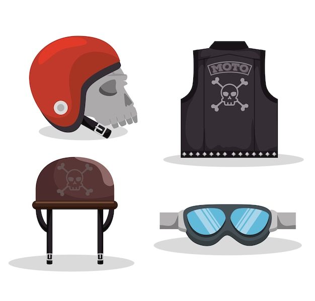 Retro motorcycle biker equipment