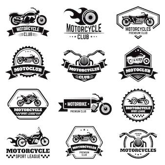 Ретро мотоцикл эмблемы. значки мотоцикла клуба байкера, штемпель велосипеда, эмблема крылов колеса колеса мотоцикла, установленные значки иллюстрации ярлыков мотоцикла. мотоцикл логотип и эмблема, значок автомагазина