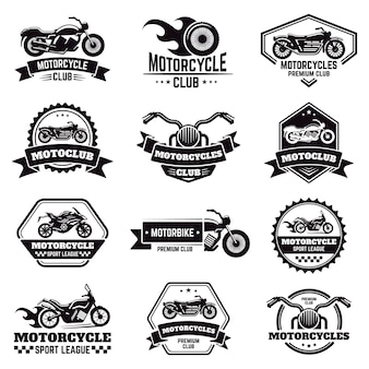 Retro motorcycle emblems. biker club motorcycle badges, bike stamp, motorbike wheel wings emblem, motorcycle labels  illustration icons set. motorcycle logo and emblem, badge motor shop