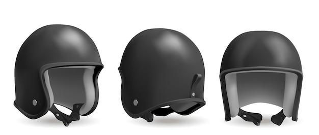レトロなオートバイ ヘルメット フロント バックとアングル ビュー