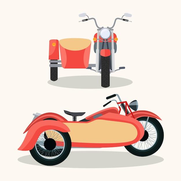 トレーラーが分離されたレトロなオートバイ。前面と側面が分離されています。ベクトルイラスト